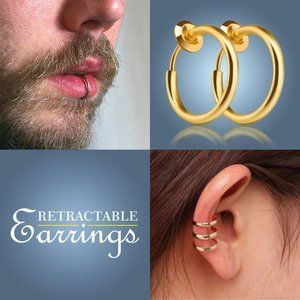 BRAND NEW Set of 7 Color Retractable Septum Hoops